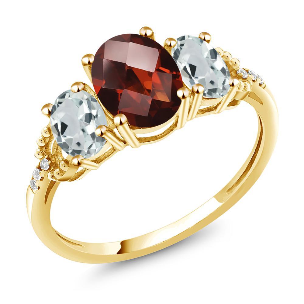 Gem Stone King 2.58カラット 天然 ガーネット 天然 アクアマリン 天然 ダイヤモンド 10金 イエローゴールド(K10) 指輪 リング レディース 大粒 スリーストーン 天然石 1月 誕生石 金属アレルギー対応 誕生日プレゼント