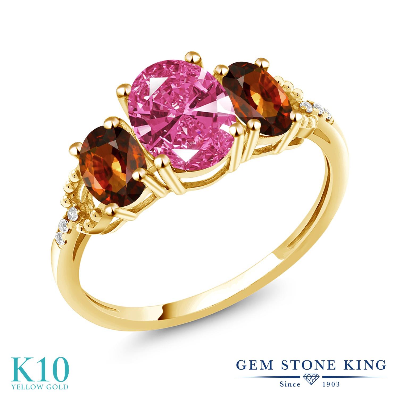 Gem Stone King 2.9カラット スワロフスキージルコニア (ピンク) 天然石 ジルコン (ブラウン) 天然 ダイヤモンド 10金 イエローゴールド(K10) 指輪 リング レディース CZ 大粒 スリーストーン 金属アレルギー対応 誕生日プレゼント