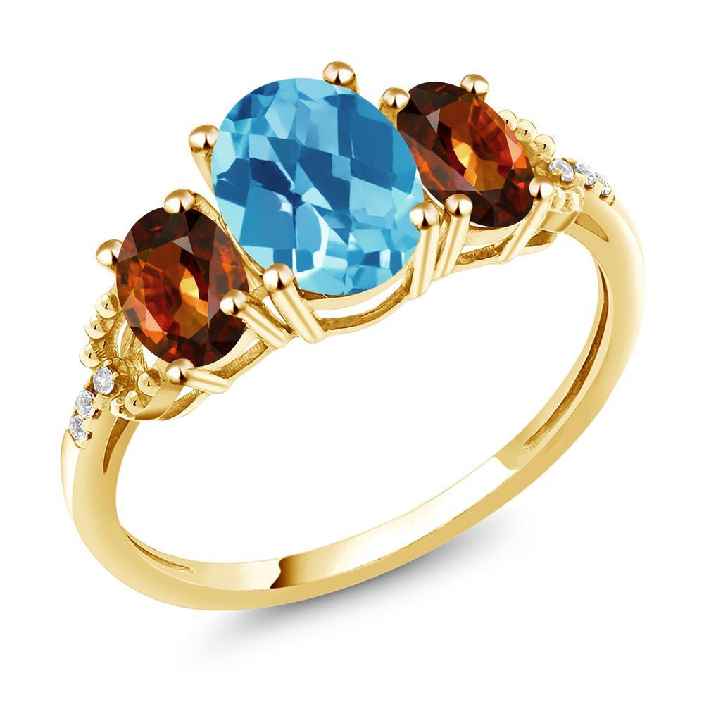 Gem Stone King 2.99カラット 天然 スイスブルートパーズ 天然石 ジルコン (ブラウン) 天然 ダイヤモンド 10金 イエローゴールド(K10) 指輪 リング レディース 大粒 スリーストーン 11月 誕生石 金属アレルギー対応 誕生日プレゼント