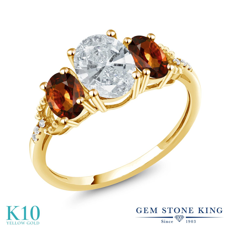 Gem Stone King 2.9カラット スワロフスキージルコニア (無色透明) 天然石 ジルコン (ブラウン) 天然 ダイヤモンド 10金 イエローゴールド(K10) 指輪 リング レディース CZ 大粒 スリーストーン 金属アレルギー対応 誕生日プレゼント