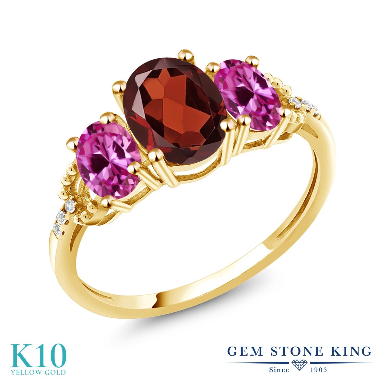 Gem Stone King 2.54カラット 天然 ガーネット 合成ピンクサファイア 天然 ダイヤモンド 10金 イエローゴールド(K10) 指輪 リング レディース 大粒 スリーストーン 天然石 1月 誕生石 金属アレルギー対応 誕生日プレゼント