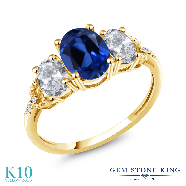 Gem Stone King 2.84カラット シミュレイテッド サファイア 天然 トパーズ (無色透明) 天然 ダイヤモンド 10金 イエローゴールド(K10) 指輪 リング レディース 大粒 スリーストーン 金属アレルギー対応 誕生日プレゼント