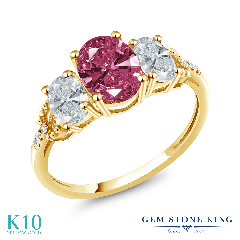Gem Stone King 2.11カラット スワロフスキージルコニア (レッド) 天然 ダイヤモンド 10金 イエローゴールド(K10) 指輪 リング レディース CZ 大粒 スリーストーン 金属アレルギー対応 誕生日プレゼント