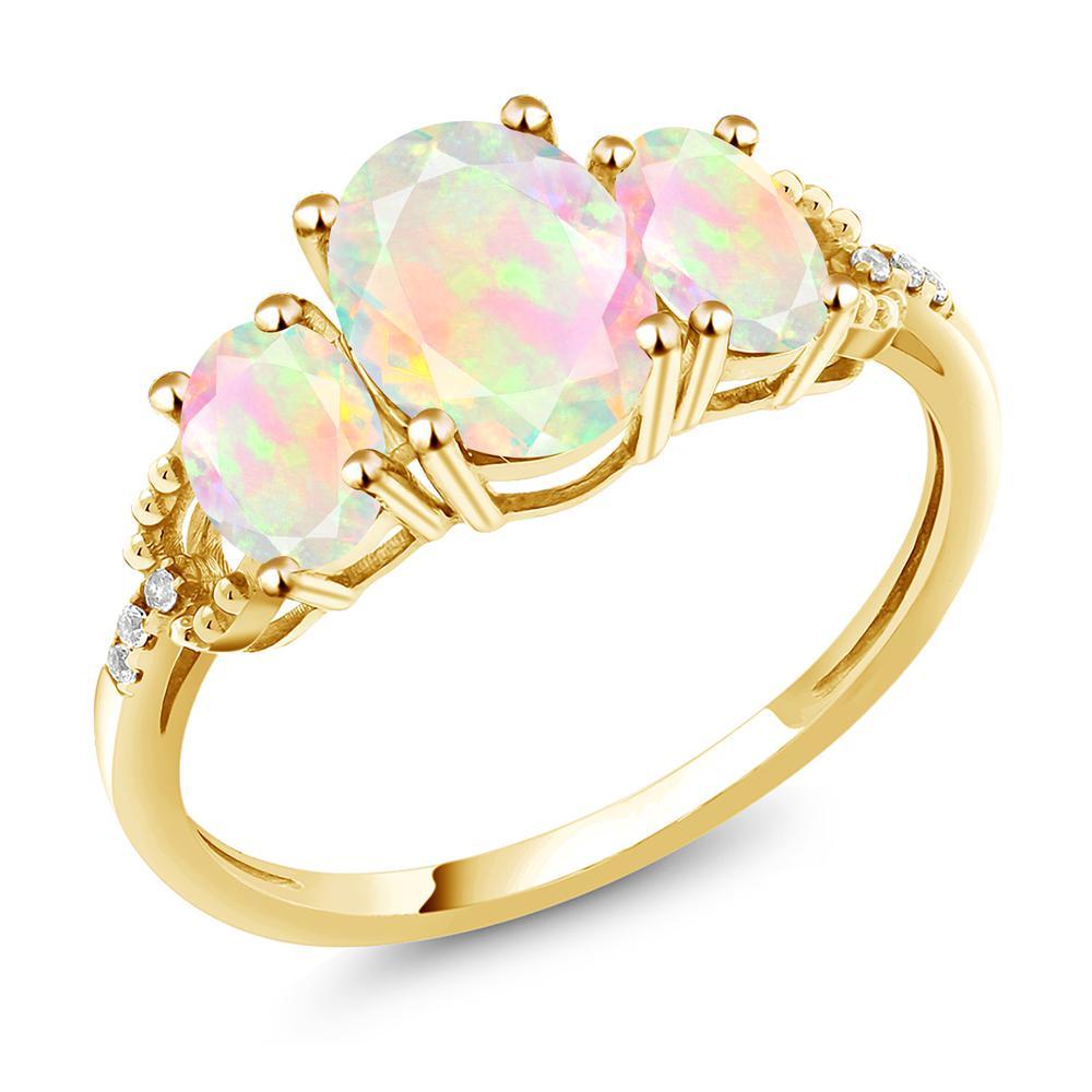Gem Stone King 1.44カラット 天然 エチオピアンオパール 天然 ダイヤモンド 10金 イエローゴールド(K10) 指輪 リング レディース スリーストーン 天然石 金属アレルギー対応 誕生日プレゼント