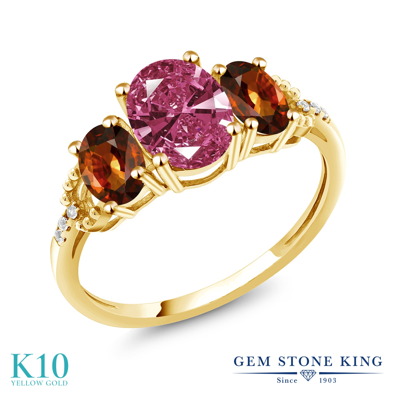 Gem Stone King 2.9カラット スワロフスキージルコニア (レッド) 天然石 ジルコン (ブラウン) 天然 ダイヤモンド 10金 イエローゴールド(K10) 指輪 リング レディース CZ 大粒 スリーストーン 金属アレルギー対応 誕生日プレゼント