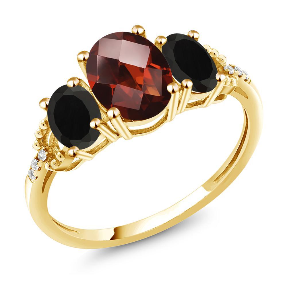 2.38カラット 天然 ガーネット 天然 オニキス 天然 ダイヤモンド 10金 イエローゴールド(K10) 指輪 レディース リング 大粒 スリーストーン 天然石 1月 誕生石 金属アレルギー対応 誕生日プレゼント