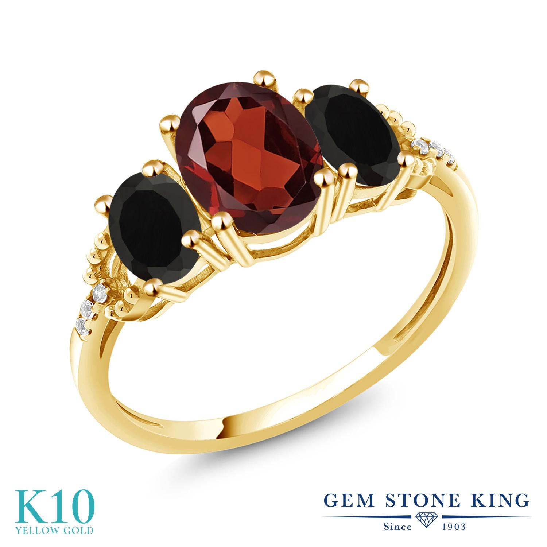 2.34カラット 天然 ガーネット 天然 オニキス 天然 ダイヤモンド 10金 イエローゴールド(K10) 指輪 レディース リング 大粒 スリーストーン 天然石 1月 誕生石 金属アレルギー対応 誕生日プレゼント
