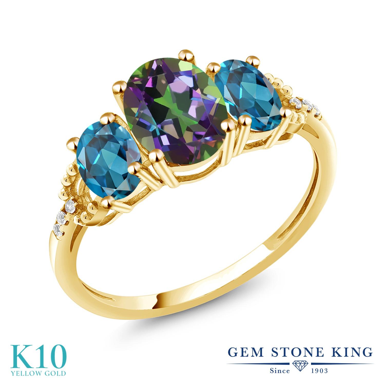 Gem Stone King 2.82カラット 天然石 ミスティックトパーズ (グリーン) 天然 ロンドンブルートパーズ 天然 ダイヤモンド 10金 イエローゴールド(K10) 指輪 リング レディース 大粒 スリーストーン 金属アレルギー対応 誕生日プレゼント
