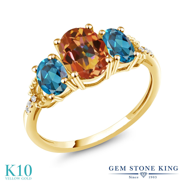 Gem Stone King 2.74カラット 天然石 エクスタシーミスティックトパーズ 天然 ロンドンブルートパーズ 天然 ダイヤモンド 10金 イエローゴールド(K10) 指輪 リング レディース 大粒 スリーストーン 金属アレルギー対応 誕生日プレゼント