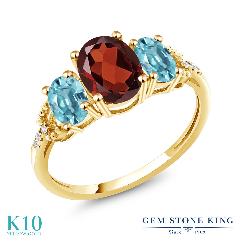 Gem Stone King 2.84カラット 天然 ガーネット 天然石 ブルージルコン 天然 ダイヤモンド 10金 イエローゴールド(K10) 指輪 リング レディース 大粒 スリーストーン 1月 誕生石 金属アレルギー対応 誕生日プレゼント