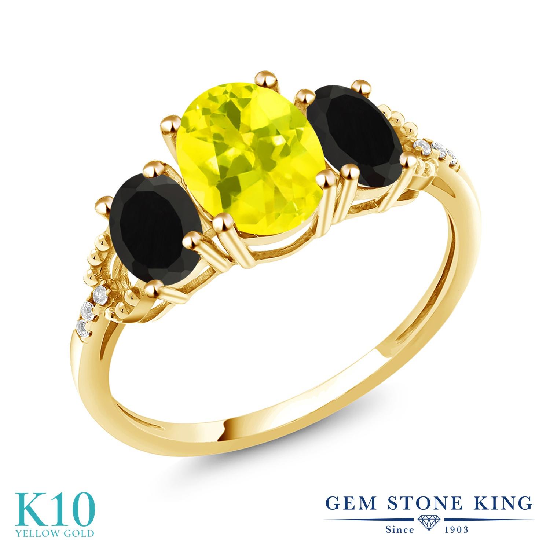 Gem Stone King 2.4カラット 天然石 ミスティックトパーズ (イエロー) 天然 オニキス 天然 ダイヤモンド 10金 イエローゴールド(K10) 指輪 リング レディース 大粒 スリーストーン 金属アレルギー対応 誕生日プレゼント