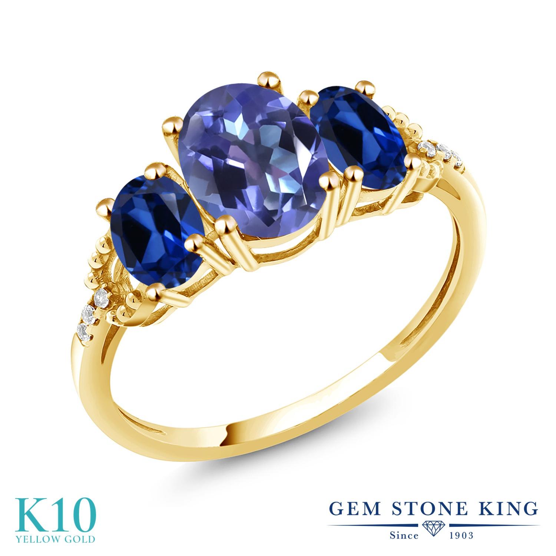 Gem Stone King 2.74カラット 天然 ミスティックトパーズ (タンザナイトブルー) シミュレイテッド サファイア 天然 ダイヤモンド 10金 イエローゴールド(K10) 指輪 リング レディース 大粒 スリーストーン 天然石 金属アレルギー対応 誕生日プレゼント