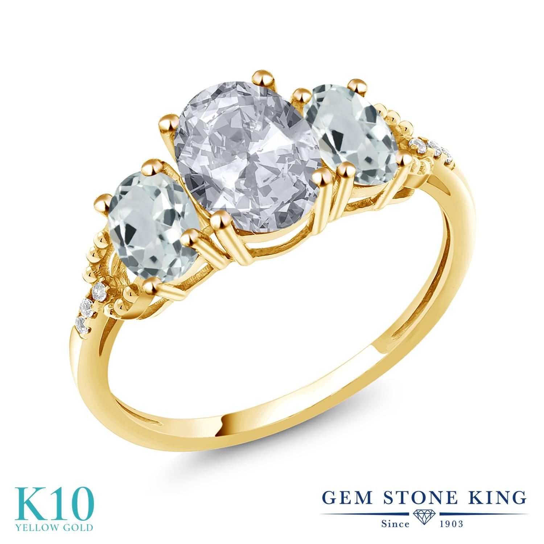 Gem Stone King 2.54カラット 天然 トパーズ (無色透明) 天然 アクアマリン 天然 ダイヤモンド 10金 イエローゴールド(K10) 指輪 リング レディース 大粒 スリーストーン 天然石 11月 誕生石 金属アレルギー対応 誕生日プレゼント