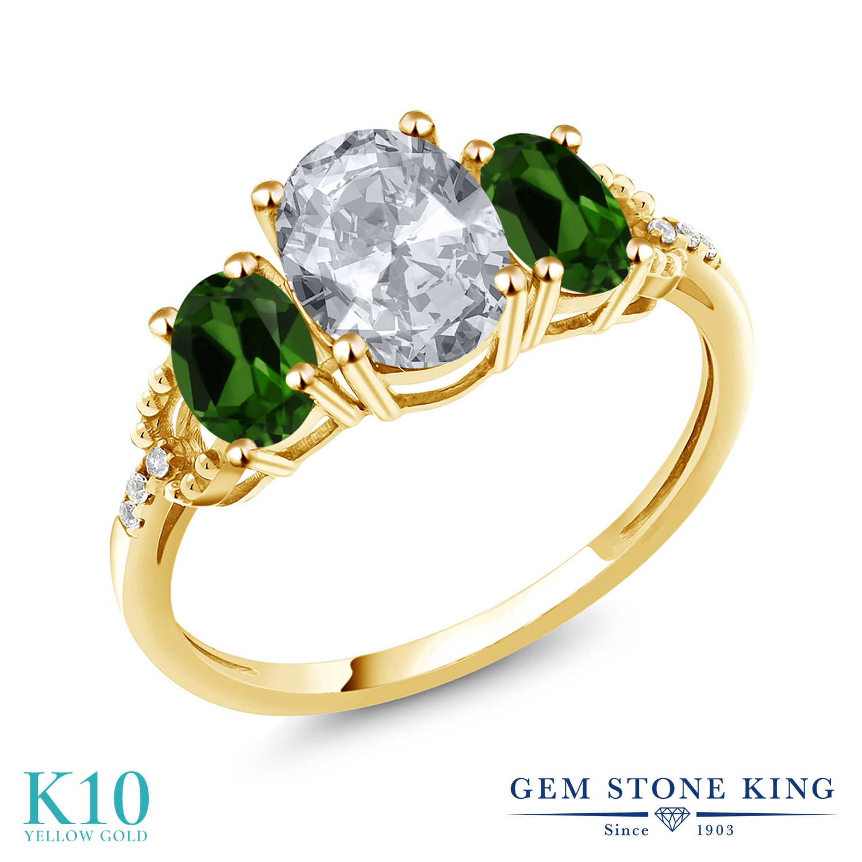 Gem Stone King 2.64カラット 天然 トパーズ (無色透明) 天然 クロムダイオプサイド 天然 ダイヤモンド 10金 イエローゴールド(K10) 指輪 リング レディース 大粒 スリーストーン 天然石 11月 誕生石 金属アレルギー対応 誕生日プレゼント