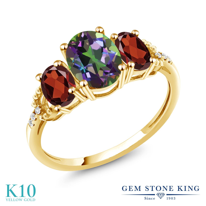 Gem Stone King 2.76カラット 天然石 ミスティックトパーズ (グリーン) 天然 ガーネット 天然 ダイヤモンド 10金 イエローゴールド(K10) 指輪 リング レディース 大粒 スリーストーン 金属アレルギー対応 誕生日プレゼント