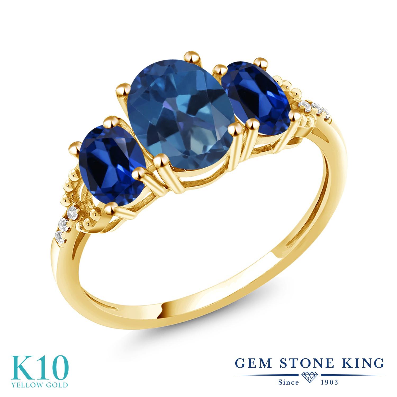 Gem Stone King 2.54カラット 天然 ミスティックトパーズ (サファイアブルー) シミュレイテッド サファイア 天然 ダイヤモンド 10金 イエローゴールド(K10) 指輪 リング レディース 大粒 スリーストーン 天然石 金属アレルギー対応 誕生日プレゼント