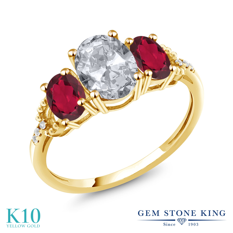 Gem Stone King 2.54カラット 天然 トパーズ (無色透明) 天然 ミスティックトパーズ (ルビーレッド) 天然 ダイヤモンド 10金 イエローゴールド(K10) 指輪 リング レディース 大粒 スリーストーン 天然石 11月 誕生石 金属アレルギー対応 誕生日プレゼント