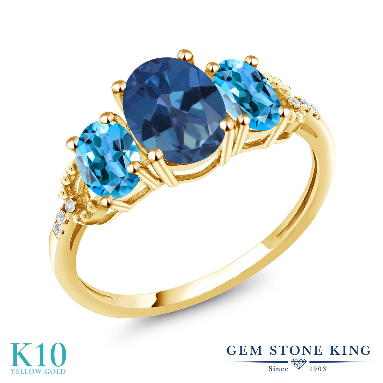 Gem Stone King 2.44カラット 天然 ミスティックトパーズ (サファイアブルー) 天然 スイスブルートパーズ 天然 ダイヤモンド 10金 イエローゴールド(K10) 指輪 リング レディース 大粒 スリーストーン 天然石 金属アレルギー対応 誕生日プレゼント