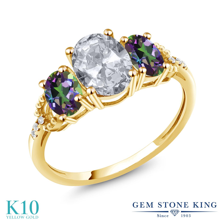 Gem Stone King 2.74カラット 天然 トパーズ (無色透明) 天然石 ミスティックトパーズ (グリーン) 天然 ダイヤモンド 10金 イエローゴールド(K10) 指輪 リング レディース 大粒 スリーストーン 11月 誕生石 金属アレルギー対応 誕生日プレゼント