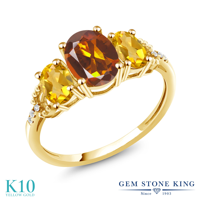 Gem Stone King 2.04カラット 天然 マデイラシトリン (オレンジレッド) 天然 シトリン 天然 ダイヤモンド 10金 イエローゴールド(K10) 指輪 リング レディース 大粒 スリーストーン 天然石 金属アレルギー対応 誕生日プレゼント