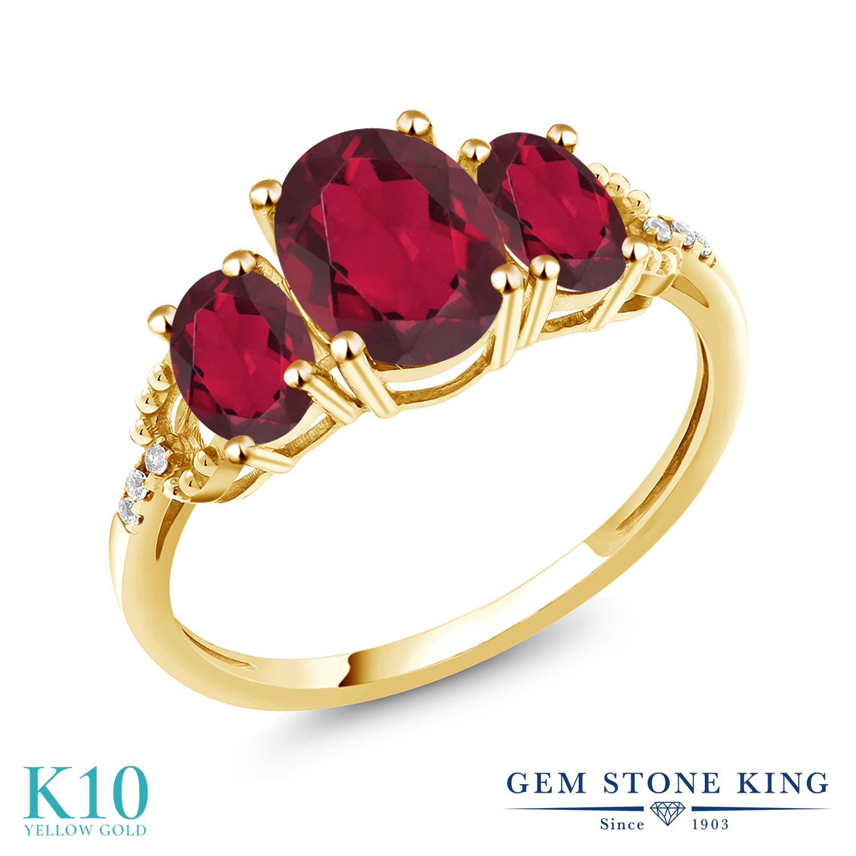 Gem Stone King 2.34カラット 天然 ミスティックトパーズ (ルビーレッド) 天然 ダイヤモンド 10金 イエローゴールド(K10) 指輪 リング レディース 大粒 スリーストーン 天然石 金属アレルギー対応 誕生日プレゼント