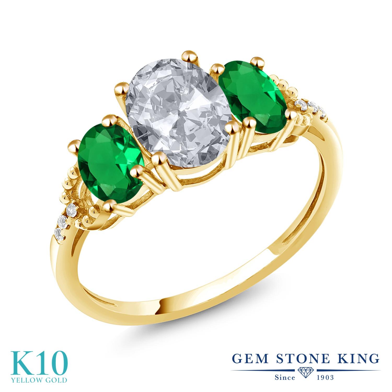 Gem Stone King 2.34カラット 天然 トパーズ (無色透明) ナノエメラルド 天然 ダイヤモンド 10金 イエローゴールド(K10) 指輪 リング レディース 大粒 スリーストーン 天然石 11月 誕生石 金属アレルギー対応 誕生日プレゼント