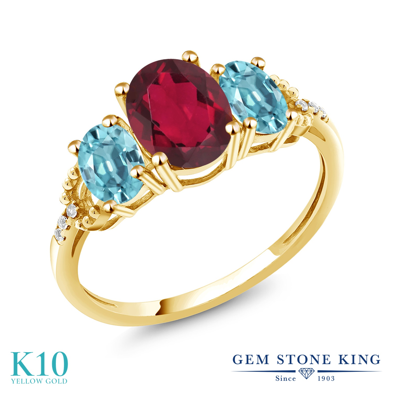 Gem Stone King 2.64カラット 天然 ミスティックトパーズ (ルビーレッド) 天然石 ブルージルコン 天然 ダイヤモンド 10金 イエローゴールド(K10) 指輪 リング レディース 大粒 スリーストーン 金属アレルギー対応 誕生日プレゼント
