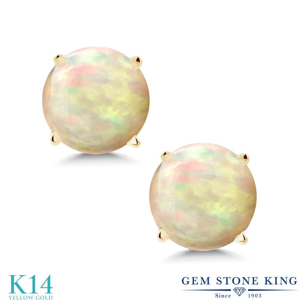 Gem Stone King 1.12カラット 天然 エチオピアンオパール 14金 イエローゴールド(K14) ピアス レディース シンプル スタッド 天然石 金属アレルギー対応 誕生日プレゼント