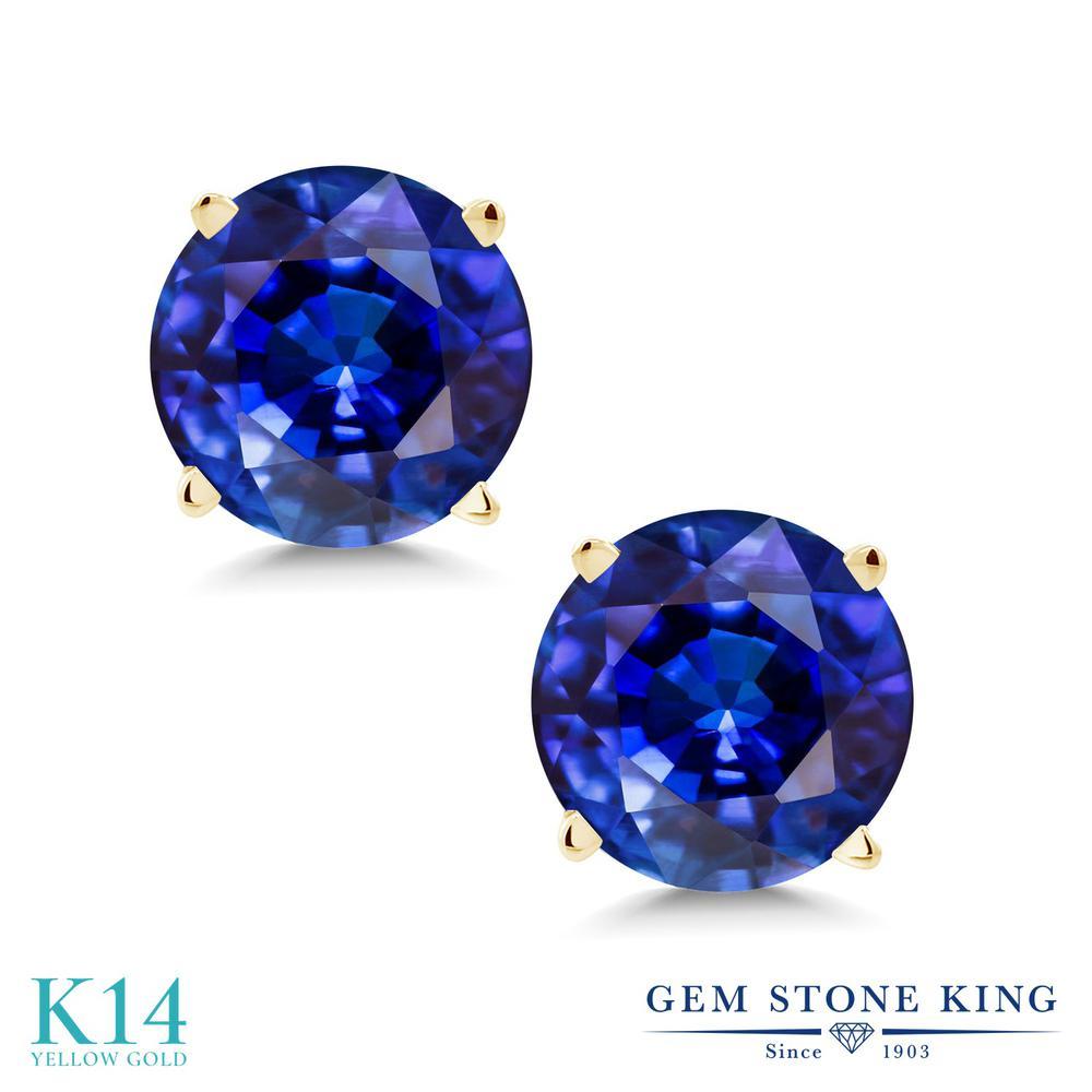 Gem Stone King 2.5カラット 天然 カイヤナイト (ブルー) 14金 イエローゴールド(K14) ピアス レディース 大粒 シンプル スタッド 天然石 金属アレルギー対応 誕生日プレゼント