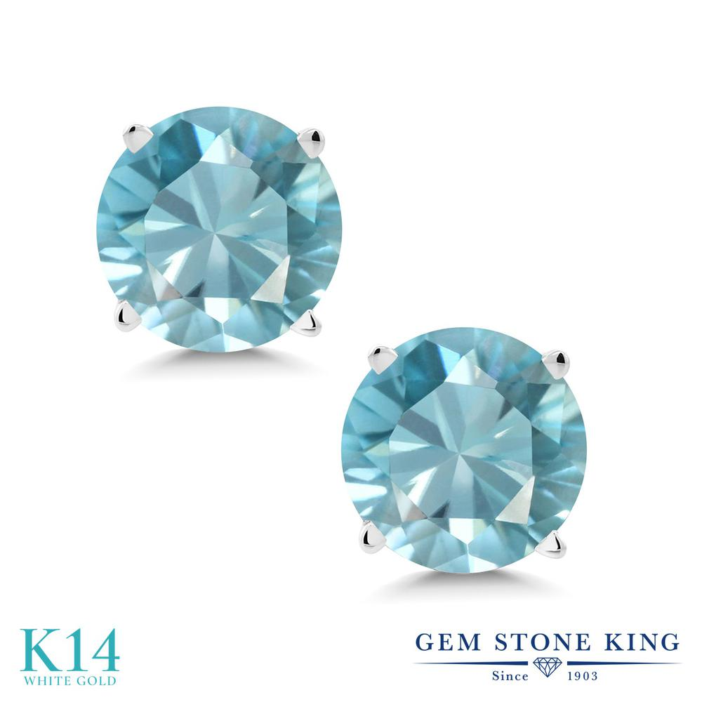 Gem Stone King 2.4カラット 天然石 ブルージルコン 14金 ホワイトゴールド(K14) ピアス レディース 大粒 シンプル スタッド 12月 誕生石 金属アレルギー対応 誕生日プレゼント