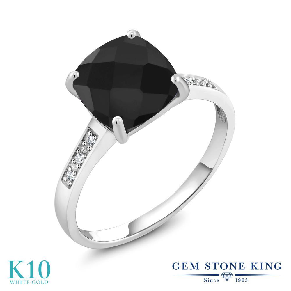 Gem Stone King 2.11カラット 天然 オニキス 10金 ホワイトゴールド(K10) 指輪 リング レディース 大粒 一粒 シンプル ソリティア 天然石 8月 誕生石 金属アレルギー対応 誕生日プレゼント