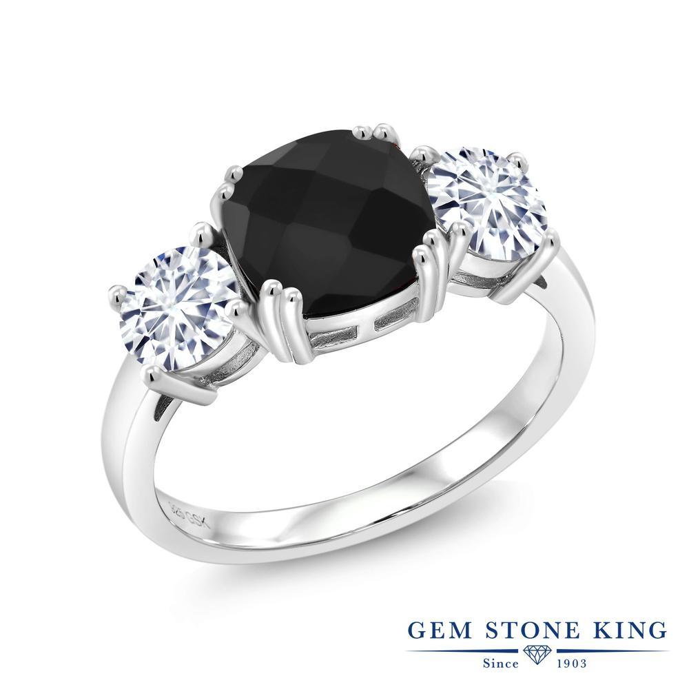 【10%OFF】 Gem Stone King 3.11カラット 天然 オニキス モアサナイト Charles & Colvard 指輪 リング レディース シルバー925 大粒 シンプル スリーストーン 天然石 8月 誕生石 クリスマスプレゼント 女性 彼女 妻 誕生日