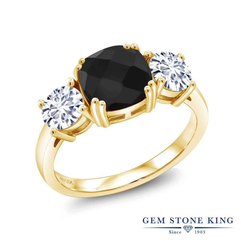 Gem Stone King 3.11カラット 天然 オニキス モアサナイト Charles & Colvard シルバー925 イエローゴールドコーティング 指輪 リング レディース 大粒 シンプル スリーストーン 天然石 8月 誕生石 金属アレルギー対応 誕生日プレゼント