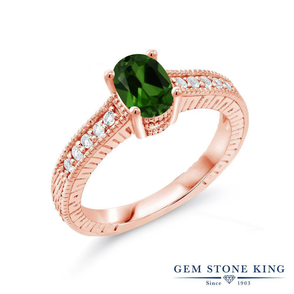 1.95カラット 天然 クロムダイオプサイド 合成ダイヤモンド 指輪 リング レディース シルバー925 ピンクゴールド 加工 大粒 マルチストーン 天然石 プレゼント 女性 彼女 妻 誕生日