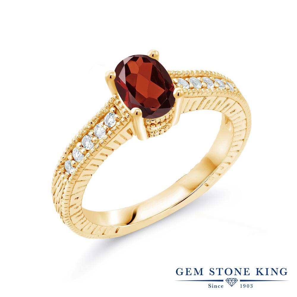 Gem Stone King 1.02カラット 天然 ガーネット 合成ダイヤモンド 指輪 リング レディース シルバー925 イエローゴールド 加工 マルチストーン 天然石 1月 誕生石 金属アレルギー対応