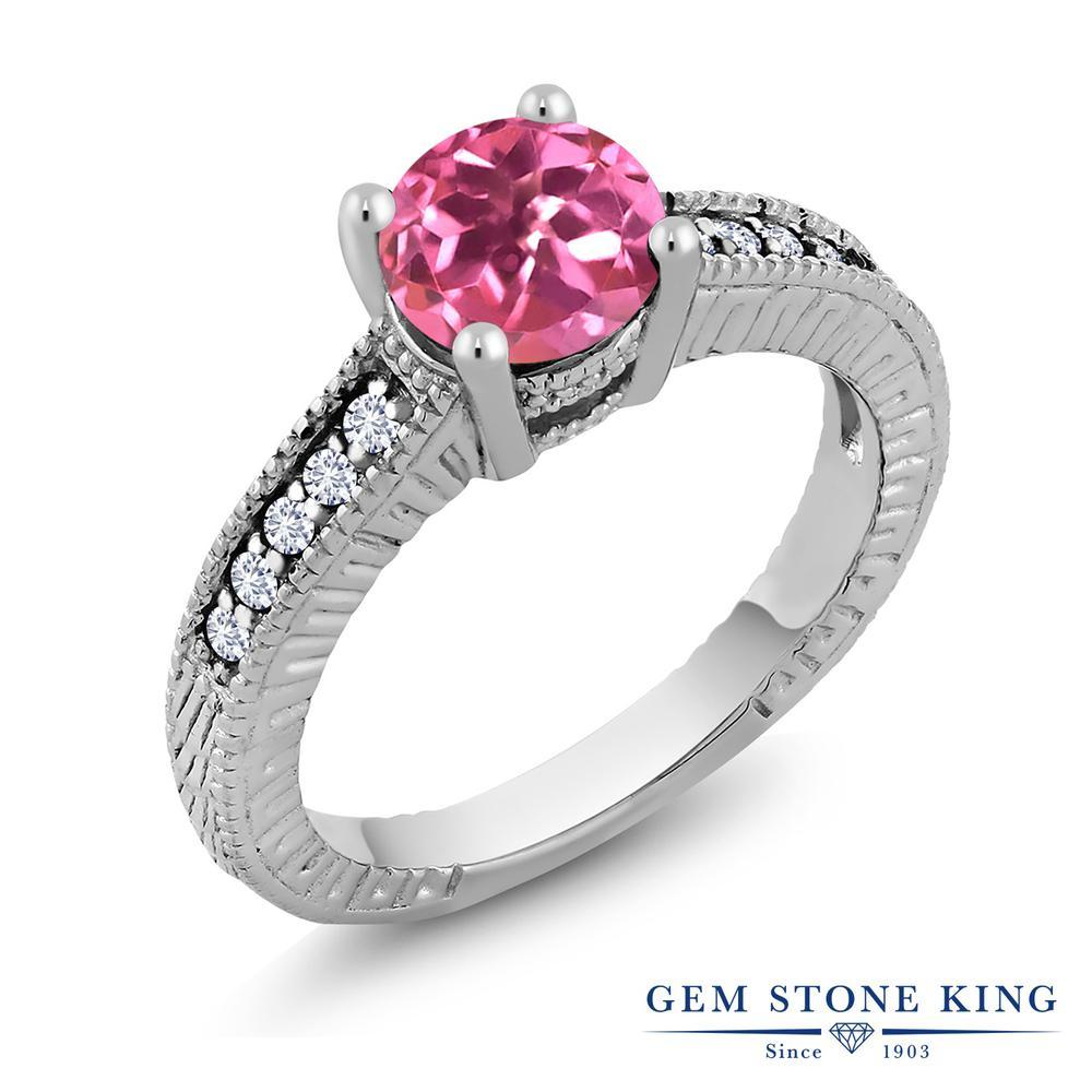 1.8カラット 天然 ミスティックトパーズ (ピンク) 指輪 レディース リング 合成ダイヤモンド シルバー925 ブランド おしゃれ 細工 大粒 天然石 金属アレルギー対応