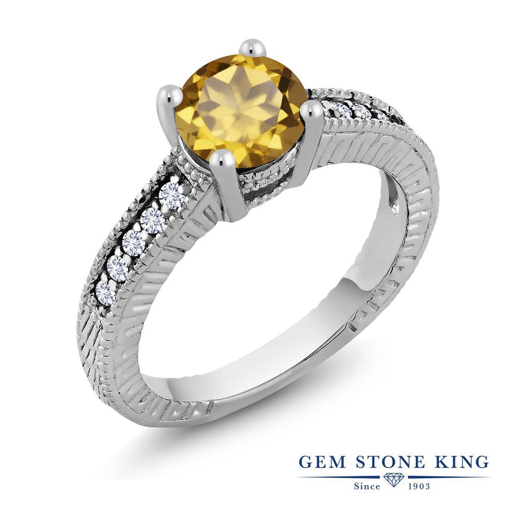 1.4カラット 天然石 シャンパンクォーツ 指輪 レディース リング 合成ダイヤモンド シルバー925 ブランド おしゃれ 細工 大粒 金属アレルギー対応