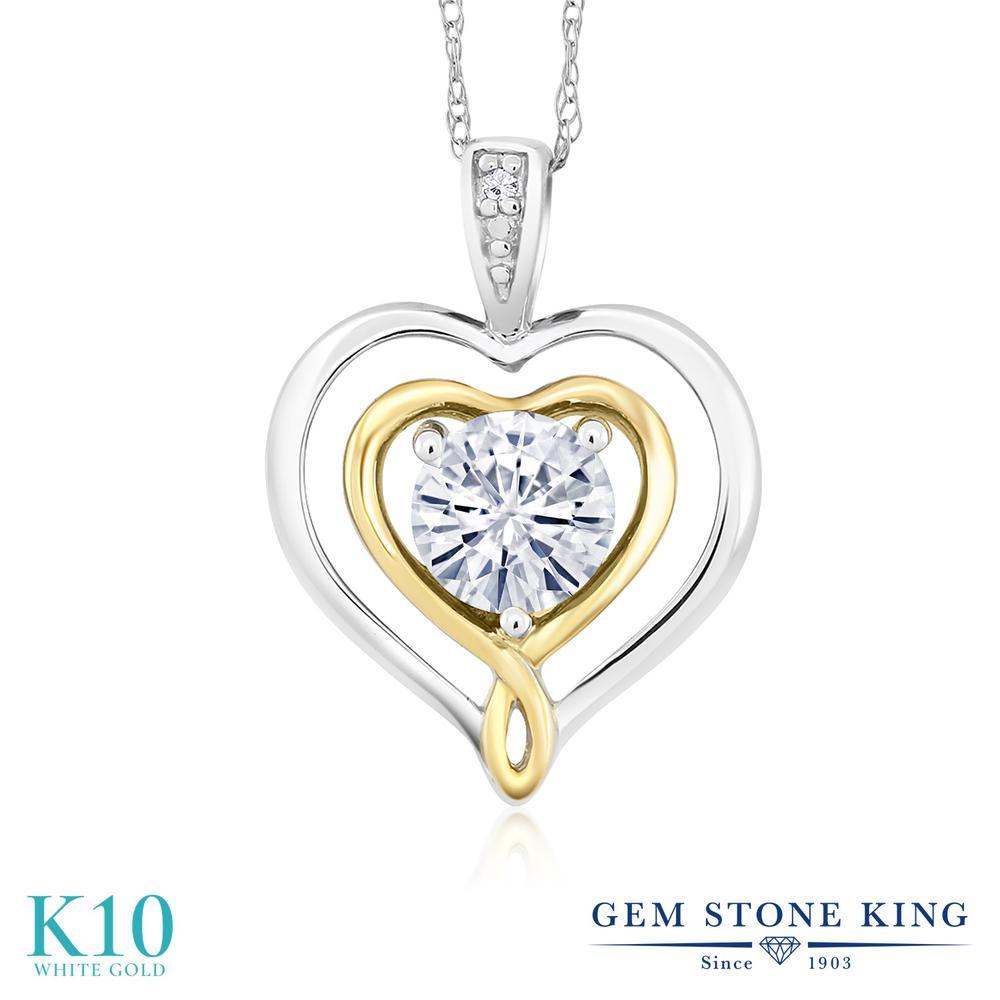 Gem Stone King 0.5カラット Forever Classic モアサナイト Charles & Colvard 10金 ホワイトゴールド(K10) ネックレス ペンダント レディース モアッサナイト 小粒 一粒 シンプル 金属アレルギー対応 誕生日プレゼント