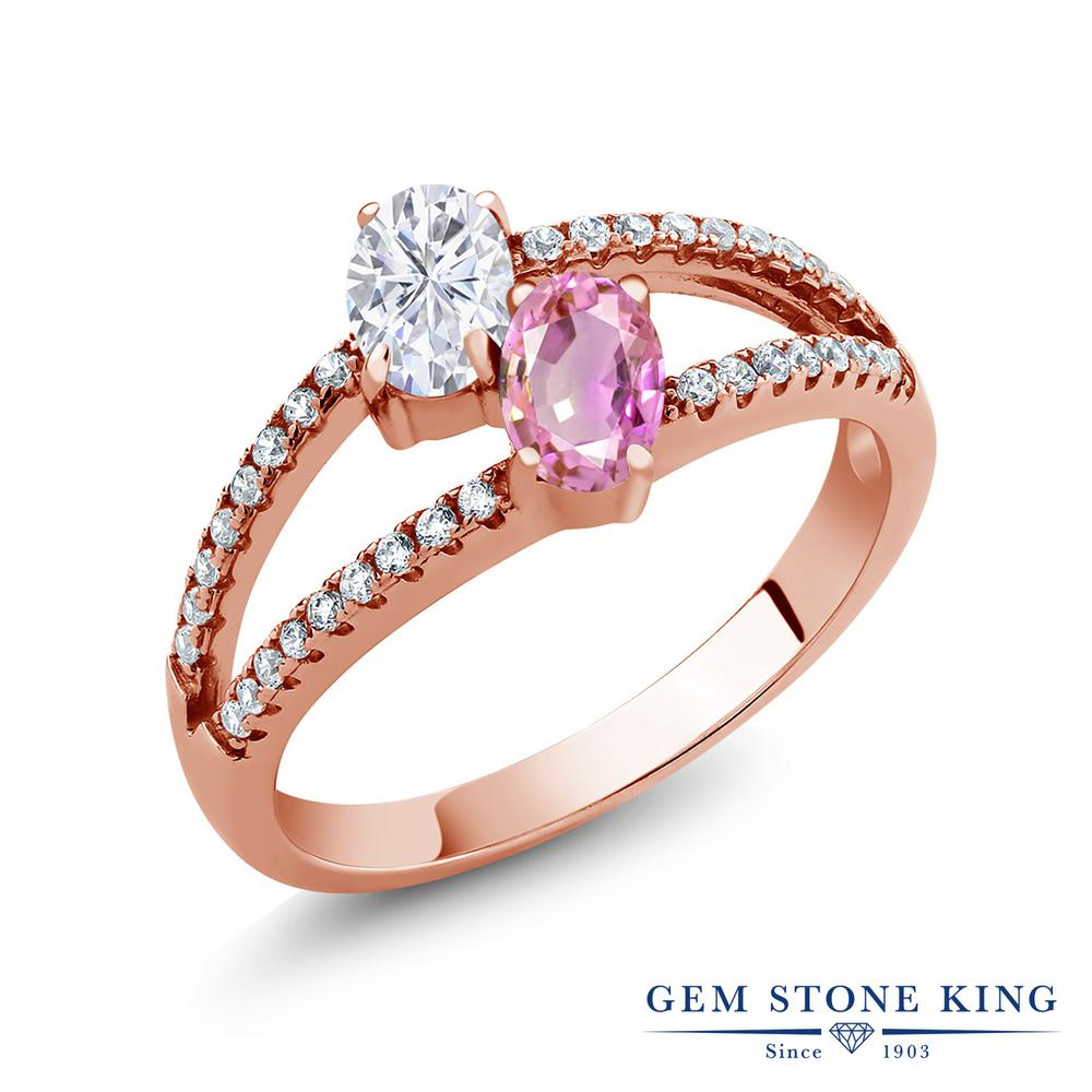 【10%OFF】 Gem Stone King 1.51カラット Forever Brilliant モアサナイト Charles & Colvard 天然 ピンクサファイア 指輪 リング レディース シルバー925 ピンクゴールド 加工 モアッサナイト 小粒 クリスマスプレゼント 女性 彼女 妻 誕生日