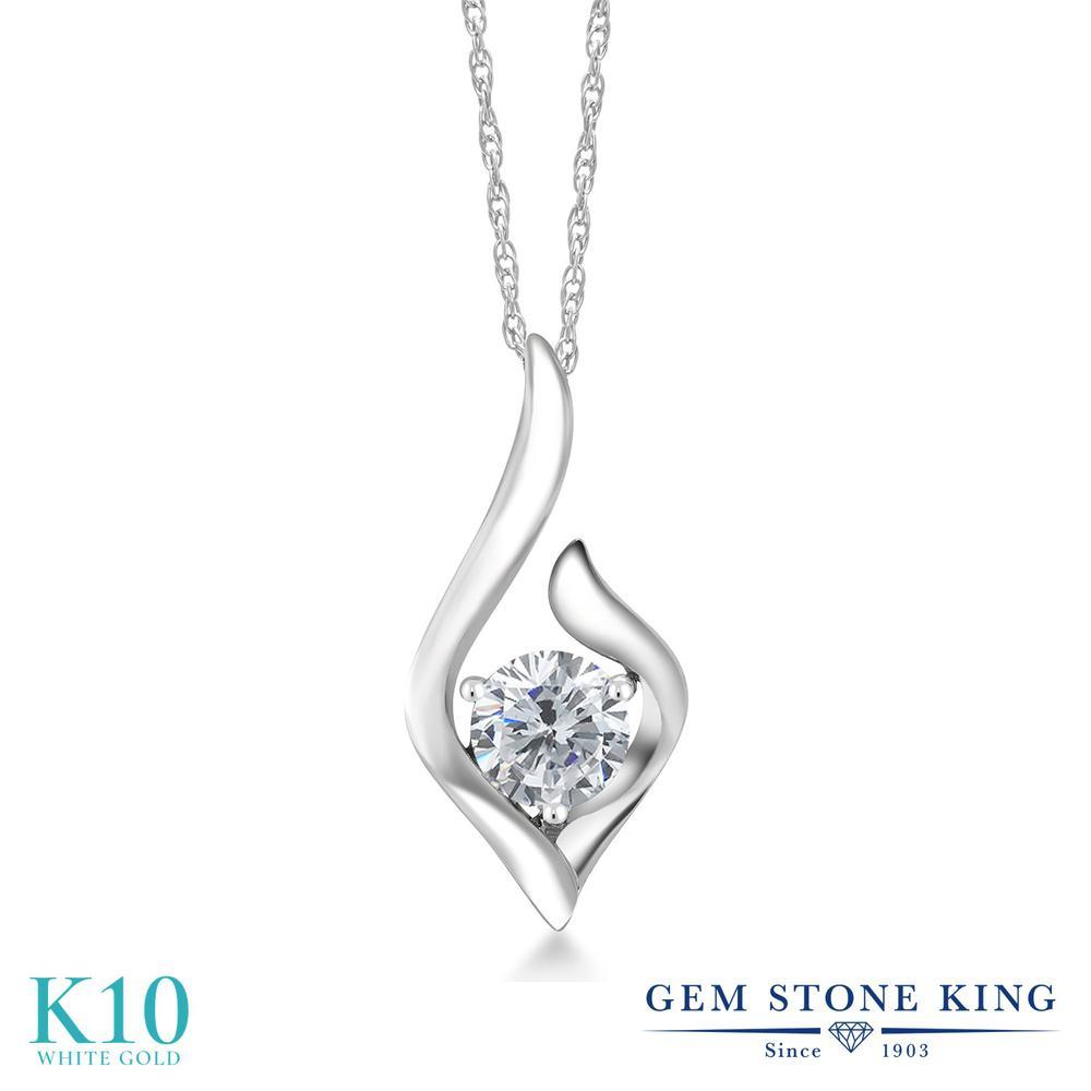 0.4カラット 合成ダイヤモンド ネックレス レディース 10金 ホワイトゴールド K10 ペンダント ダイヤ 小粒 一粒 シンプル プレゼント 女性 彼女 妻 誕生日