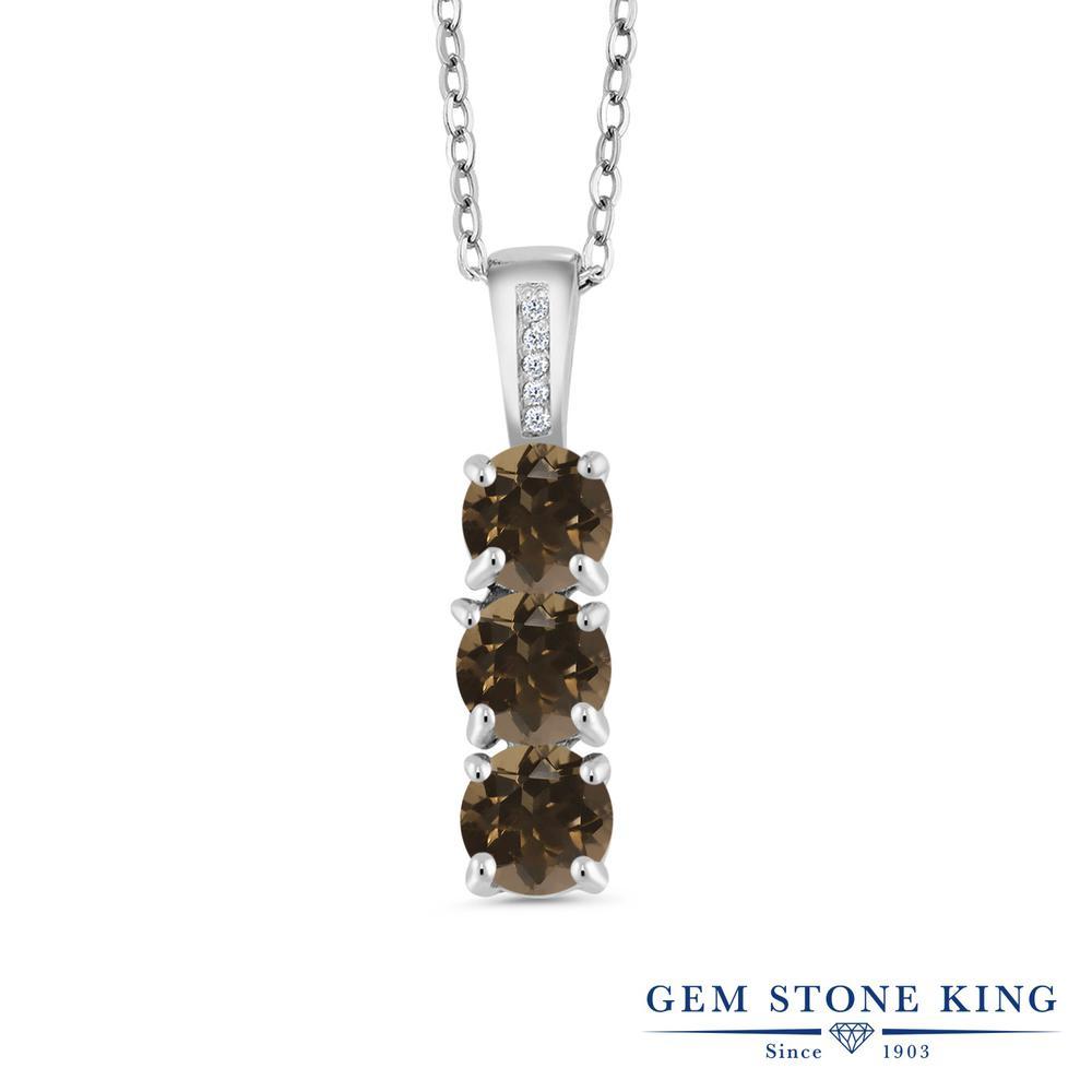 1.54カラット 天然 スモーキークォーツ (ブラウン) ダイヤモンド ネックレス レディース シルバー925 ペンダント 小粒 華奢 細身 天然石 金属アレルギー対応