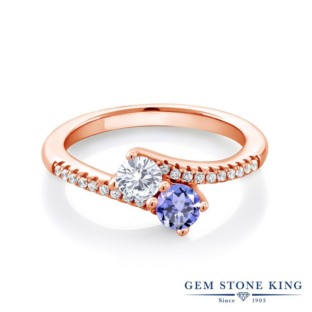 Gem Stone King 0.77カラット Forever Classic モアサナイト Charles & Colvard 天然石 タンザナイト 指輪 リング レディース シルバー925 ピンクゴールド 加工 モアッサナイト 小粒 ダブルストーン 金属アレルギー対応