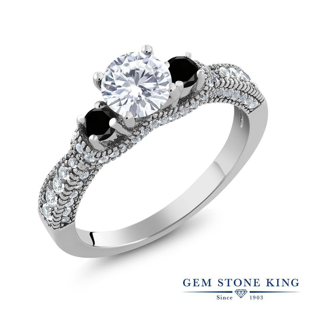 【クーポンで10%OFF】 Gem Stone King 1.69カラット Forever Classic モアサナイト Charles & Colvard ブラックダイヤモンド 指輪 リング レディース シルバー925 モアッサナイト 小粒 スリーストーン クリスマスプレゼント 女性 彼女 妻 誕生日