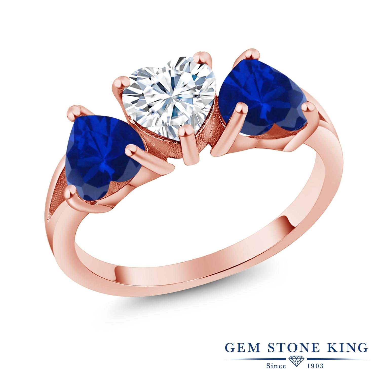 Gem Stone King 2.4カラット Forever Brilliant モアサナイト Charles & Colvard シミュレイテッド サファイア 指輪 リング レディース シルバー925 ピンクゴールド 加工 モアッサナイト シンプル スリーストーン クリスマスプレゼント 女性 彼女 妻 誕生日