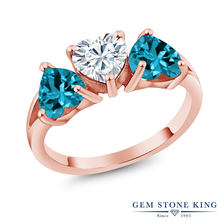 Gem Stone King 2.7カラット Forever Brilliant モアサナイト Charles & Colvard 天然 ロンドンブルートパーズ 指輪 リング レディース シルバー925 ピンクゴールド 加工 モアッサナイト シンプル スリーストーン クリスマスプレゼント 女性 彼女 妻 誕生日