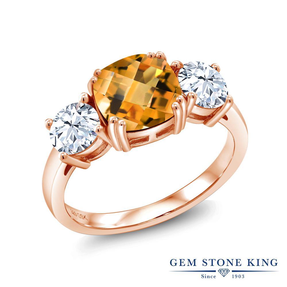 3.5カラット 天然 シトリン 指輪 レディース リング ピンクゴールド 加工 シルバー925 ブランド おしゃれ 3連 黄色 大粒 シンプル スリーストーン 天然石 11月 誕生石 金属アレルギー対応