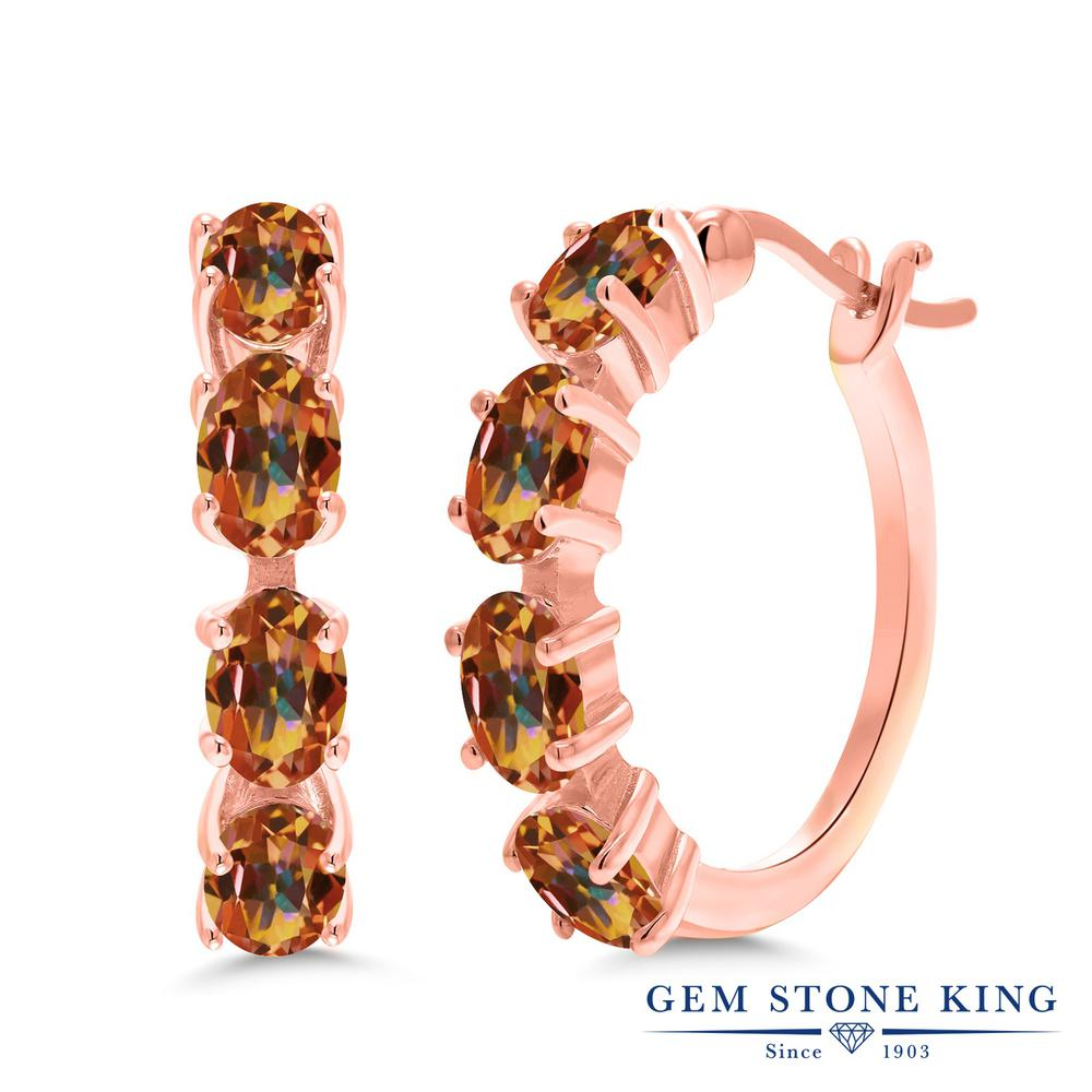 Gem Stone King 4カラット 天然石 エクスタシーミスティックトパーズ ピアス レディース シルバー925 ピンクゴールド 加工 小粒 フープ 華奢 細身 金属アレルギー対応