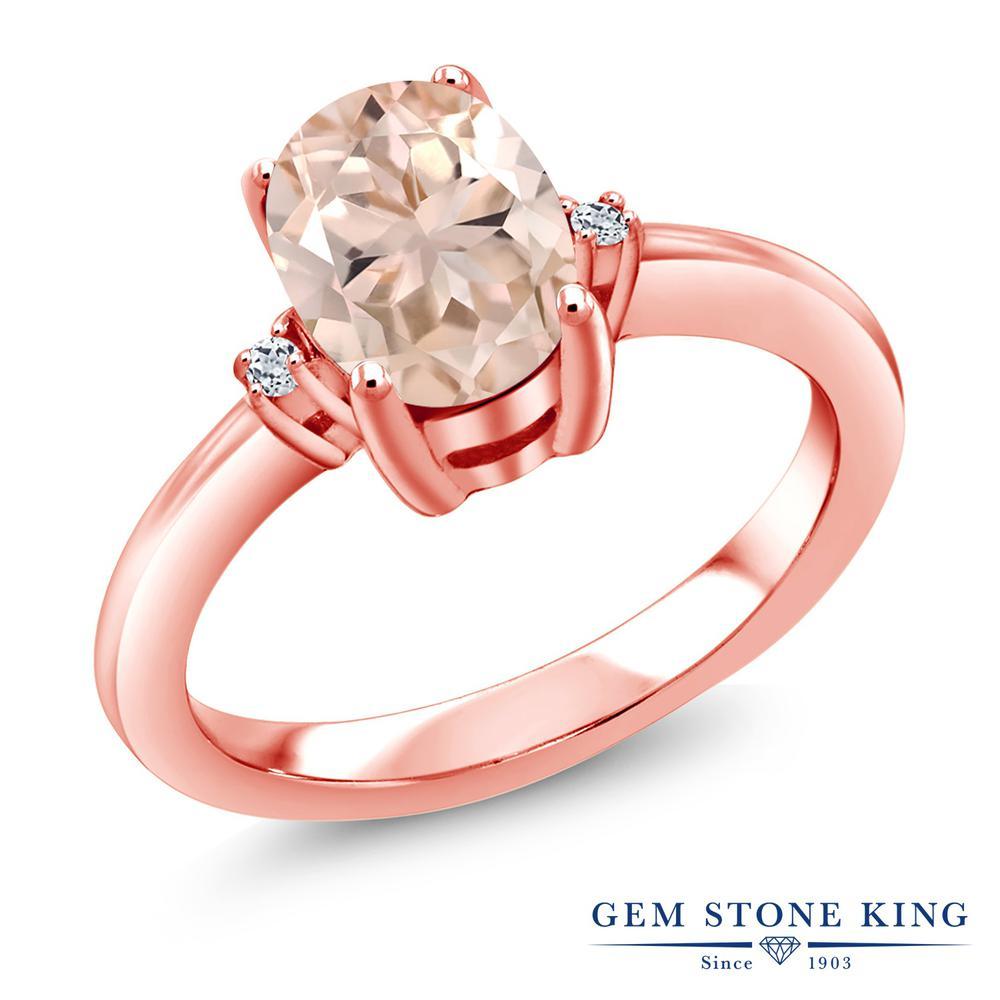 【クーポンで10%OFF】 Gem Stone King 1.04カラット 天然 モルガナイト (ピーチ) トパーズ 指輪 リング レディース シルバー925 ピンクゴールド 加工 大粒 シンプル ソリティア 天然石 3月 誕生石 婚約指輪 エンゲージリング