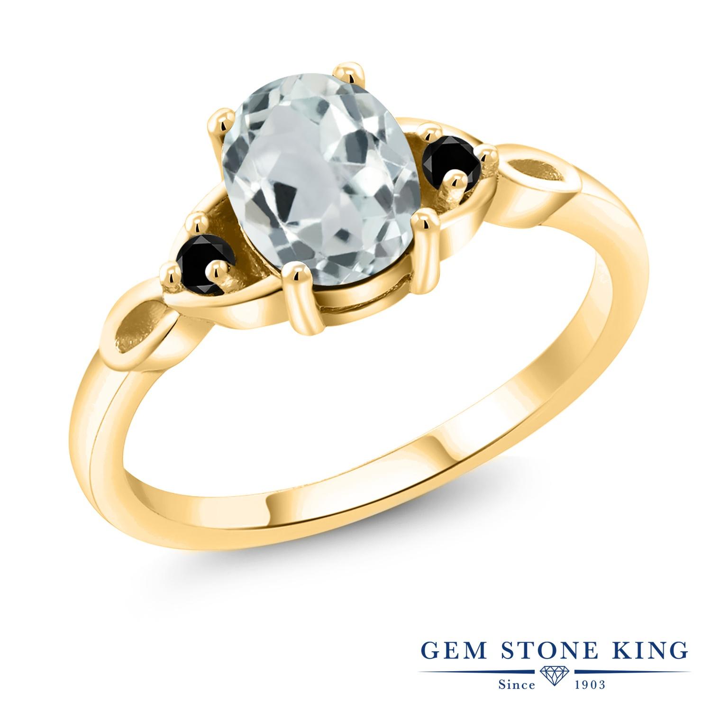 1.27カラット 天然 アクアマリン 指輪 レディース リング ブラックダイヤモンド イエローゴールド 加工 シルバー925 ブランド おしゃれ 水色 大粒 シンプル スリーストーン 天然石 3月 誕生石 プレゼント 女性 彼女 妻 誕生日