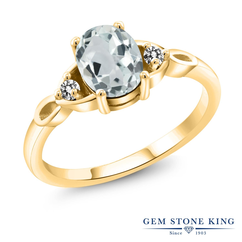 1.27カラット 天然 アクアマリン 指輪 レディース リング ダイヤモンド イエローゴールド 加工 シルバー925 ブランド おしゃれ 水色 大粒 シンプル スリーストーン 天然石 3月 誕生石 プレゼント 女性 彼女 妻 誕生日